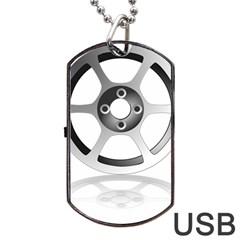 Car Wheel Chrome Rim Dog Tag USB Flash (One Side)