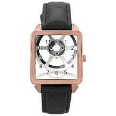 Car Wheel Chrome Rim Rose Gold Leather Watch