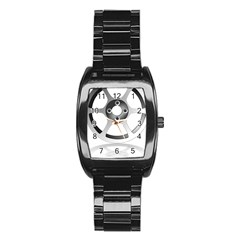 Car Wheel Chrome Rim Stainless Steel Barrel Watch