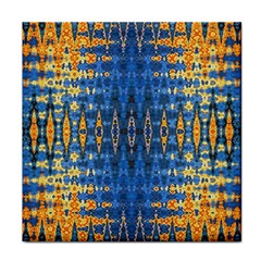 Blue And Gold Repeat Pattern Tile Coasters