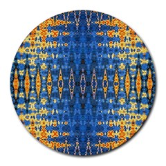 Blue And Gold Repeat Pattern Round Mousepads