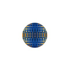 Blue And Gold Repeat Pattern 1  Mini Magnets