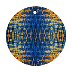 Blue And Gold Repeat Pattern Ornament (Round)