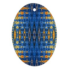 Blue And Gold Repeat Pattern Ornament (Oval)
