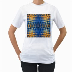 Blue And Gold Repeat Pattern Women s T-Shirt (White) (Two Sided)
