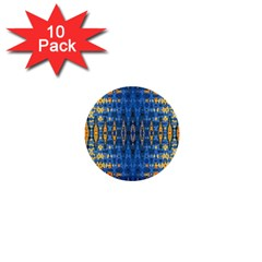 Blue And Gold Repeat Pattern 1  Mini Buttons (10 pack)