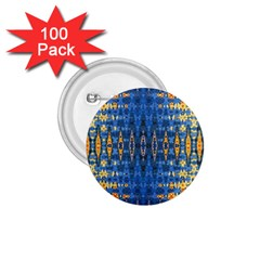 Blue And Gold Repeat Pattern 1.75  Buttons (100 pack)