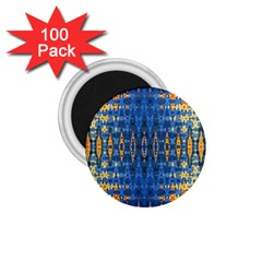 Blue And Gold Repeat Pattern 1.75  Magnets (100 pack)
