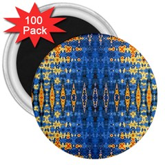 Blue And Gold Repeat Pattern 3  Magnets (100 pack)