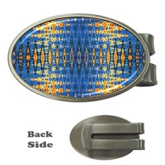 Blue And Gold Repeat Pattern Money Clips (Oval)
