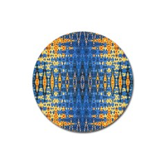 Blue And Gold Repeat Pattern Magnet 3  (Round)