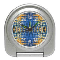 Blue And Gold Repeat Pattern Travel Alarm Clocks