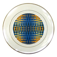 Blue And Gold Repeat Pattern Porcelain Plates