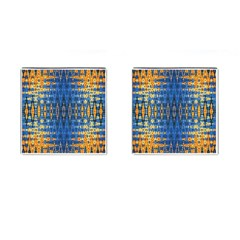 Blue And Gold Repeat Pattern Cufflinks (Square)