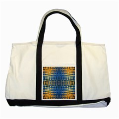 Blue And Gold Repeat Pattern Two Tone Tote Bag