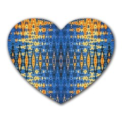 Blue And Gold Repeat Pattern Heart Mousepads