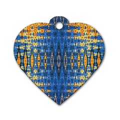 Blue And Gold Repeat Pattern Dog Tag Heart (One Side)