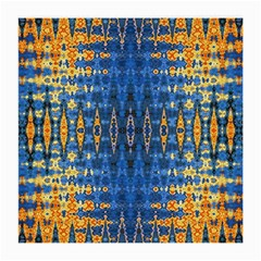 Blue And Gold Repeat Pattern Medium Glasses Cloth (2-Side)