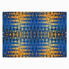 Blue And Gold Repeat Pattern Large Glasses Cloth