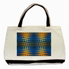 Blue And Gold Repeat Pattern Basic Tote Bag (Two Sides)