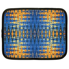 Blue And Gold Repeat Pattern Netbook Case (Large)