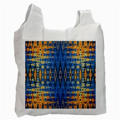 Blue And Gold Repeat Pattern Recycle Bag (Two Side)