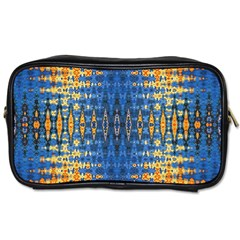 Blue And Gold Repeat Pattern Toiletries Bags 2-Side