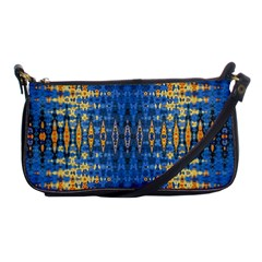 Blue And Gold Repeat Pattern Shoulder Clutch Bags