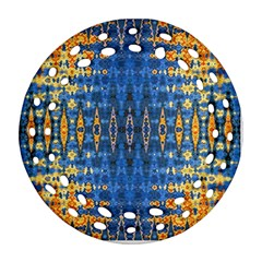 Blue And Gold Repeat Pattern Ornament (Round Filigree)
