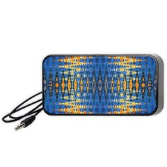 Blue And Gold Repeat Pattern Portable Speaker (Black)