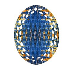 Blue And Gold Repeat Pattern Ornament (Oval Filigree)