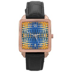 Blue And Gold Repeat Pattern Rose Gold Leather Watch