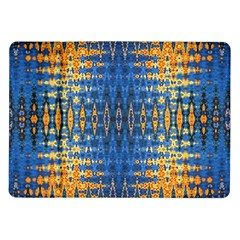 Blue And Gold Repeat Pattern Samsung Galaxy Tab 10.1  P7500 Flip Case
