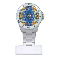 Blue And Gold Repeat Pattern Plastic Nurses Watch