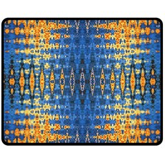 Blue And Gold Repeat Pattern Double Sided Fleece Blanket (Medium)
