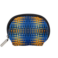 Blue And Gold Repeat Pattern Accessory Pouches (Small)