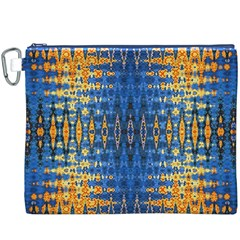 Blue And Gold Repeat Pattern Canvas Cosmetic Bag (XXXL)