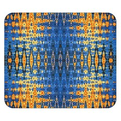 Blue And Gold Repeat Pattern Double Sided Flano Blanket (Small)