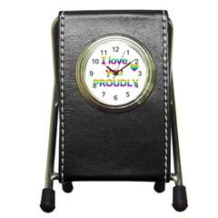 Proudly love Pen Holder Desk Clocks