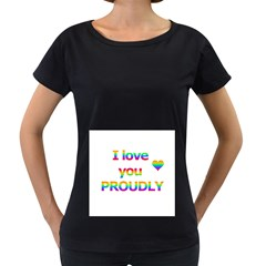 Proudly love Women s Loose-Fit T-Shirt (Black)