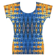 Blue And Gold Repeat Pattern Women s Cap Sleeve Top