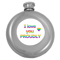 Proudly love Round Hip Flask (5 oz)