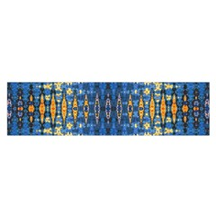Blue And Gold Repeat Pattern Satin Scarf (Oblong)
