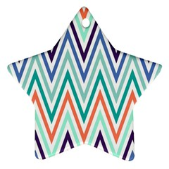 Chevrons Colourful Background Ornament (Star)