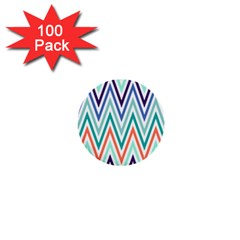 Chevrons Colourful Background 1  Mini Buttons (100 pack)