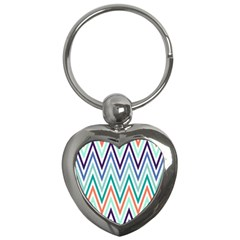 Chevrons Colourful Background Key Chains (Heart)
