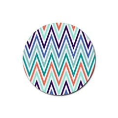 Chevrons Colourful Background Rubber Coaster (Round)