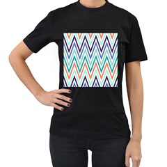 Chevrons Colourful Background Women s T-Shirt (Black) (Two Sided)