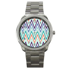 Chevrons Colourful Background Sport Metal Watch
