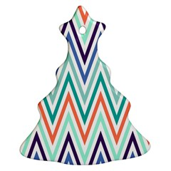 Chevrons Colourful Background Christmas Tree Ornament (2 Sides)